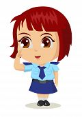 pic of chibi  - Cute cartoon illustration of a policewoman isolated on white - JPG
