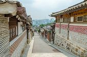stock photo of seoul south korea  - Bukchon Hanok Village In Summer At Historical District Seoul South Korea - JPG