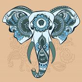 image of indian elephant  - Vector Indian Decorative Elephant on the Henna Indian Ornaments - JPG