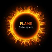 stock photo of infernos  - Burning hot bonfire inferno flame strokes circle realistic background vector illustration - JPG