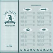 image of seahorses  - Seafood restaurant menu list template with seahorse and sea food icons vector illustration - JPG