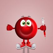 pic of hemoglobin  - an illustration of a Red blood cell with syringe - JPG