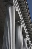 stock photo of ionic  - An example of ionic columns in southern United States with classic lines and architecture of historic Hibernian Hall in Charleston - JPG