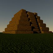 foto of ziggurat  - Stepped pyramid in sunset light 3d render - JPG