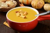 foto of butternut  - A cup of butternut squash soup with pumpkin cornbread crutons - JPG