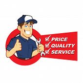 stock photo of cartoon character  - Clipart picture of a mechanic cartoon character with service list - JPG
