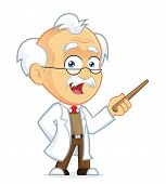 foto of physicist  - Clipart Picture of a Professor Cartoon Character Holding a Pointer Stick - JPG
