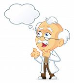 pic of physicist  - Vector Picture of a Professor Cartoon Character Thinking with White Bubble - JPG
