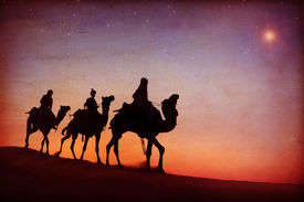 image of desert christmas  - Three Kings Desert Star of Bethlehem Nativity Concept - JPG