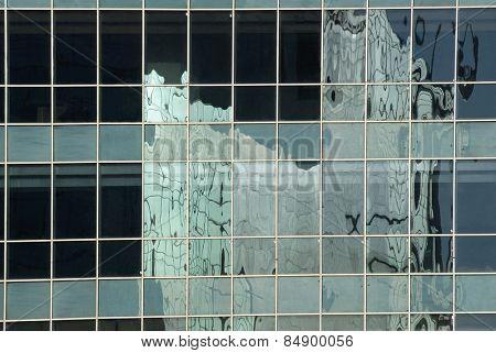 Reflection of an office building, Gurgaon, Haryana, India