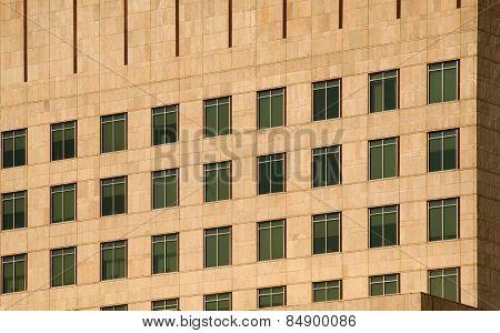 Windows of an office building in sunset, Gurgaon, Haryana, India