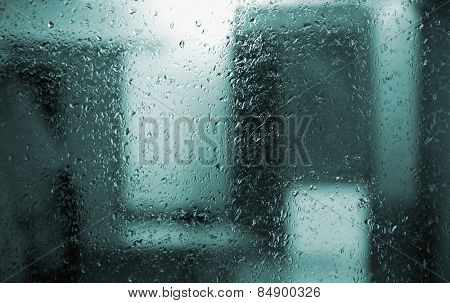 Dew drops on glass, Gurgaon, Haryana, India