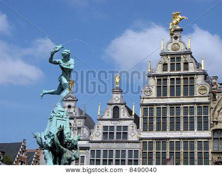 Antwerp Grote Markt Statue