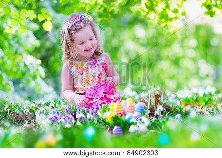 Little Girl At Egg Hunt