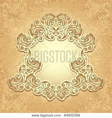 Vintage frame in gold color