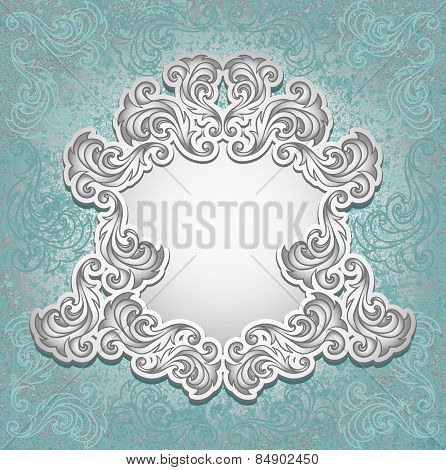 Vintage frame in blue silver color
