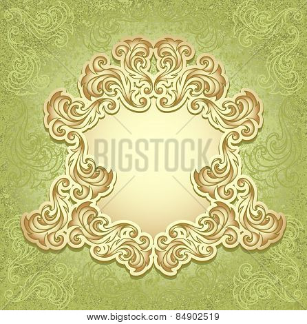 Vintage frame in green gold color