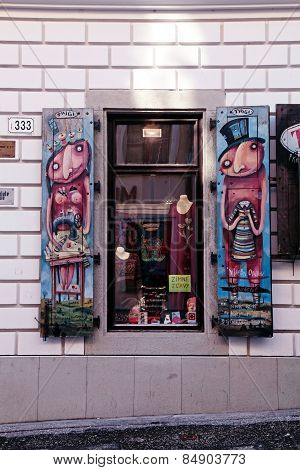 Hand-made Art Painted Shatters Window, Bratislava.