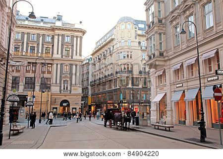 Shopping Street Graben In Vienna, Austria.