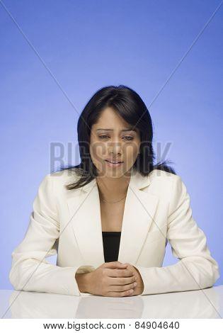 Businesswoman looking down