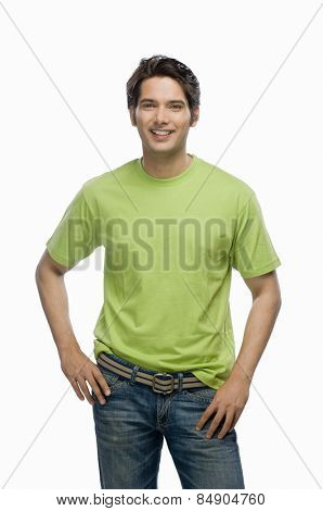 Portrait of a young male fashion model smiling