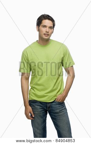 Portrait of a young male fashion model posing