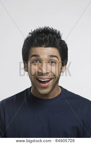 Portrait of a man laughing