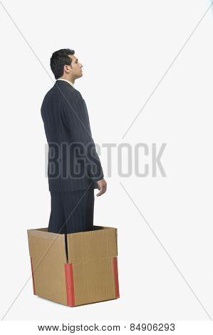 Businessman standing in a cardboard box