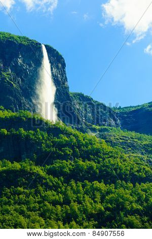 Beautiful Waterfall In Norway Fjords