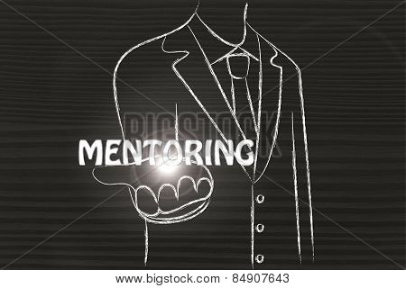 Business Man Handing Out The Word Mentoring