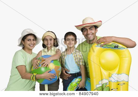 Portrait of a happy family enjoying on vacations