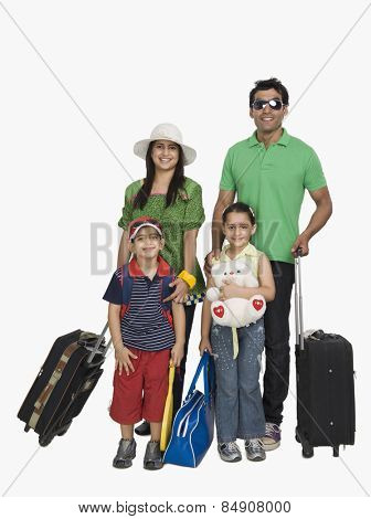 Parents with their children going for vacations