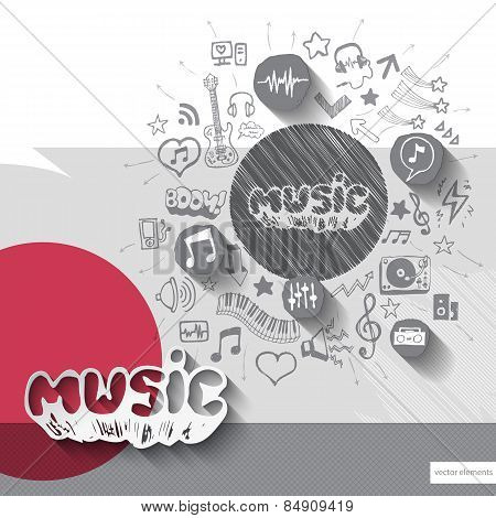 Hand drawn music notice icons with icons background