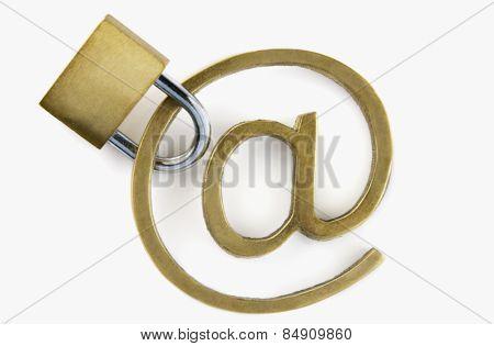 Padlock with at symbol