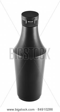 Soy souce platic bottle over white background