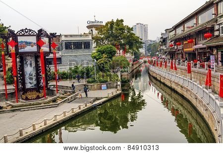Canal Bridge Walking Street Lychee Bay Luwan Guangzhou Guangdong Province China