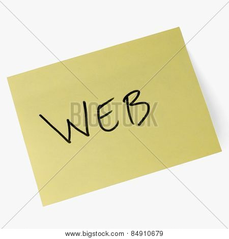 Web text on an adhesive note