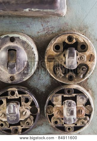 Close-up of a damaged lightswitches