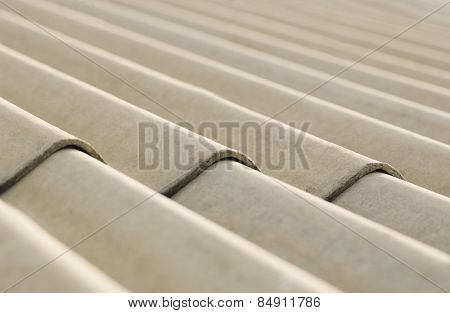 Close-up of corrugated cement sheet
