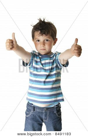 Lovely Child With Thumbs Up
