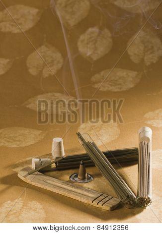 Incense stick burning
