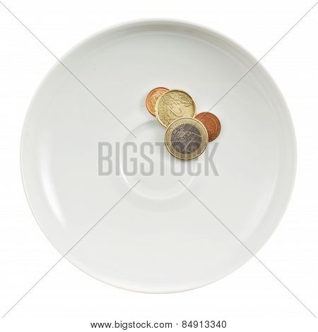 Euro coins in a white plate isolated