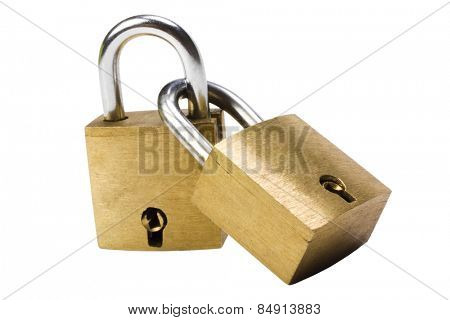 Close-up of attached padlocks