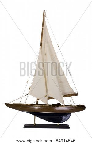 Close-up of a maquette sailboat