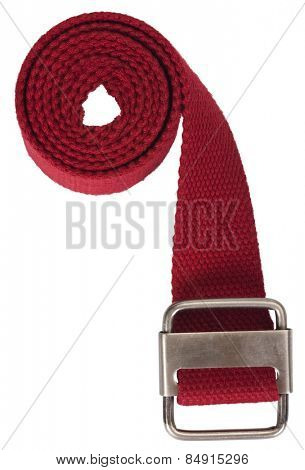 Close-up of a red woven cotton belt