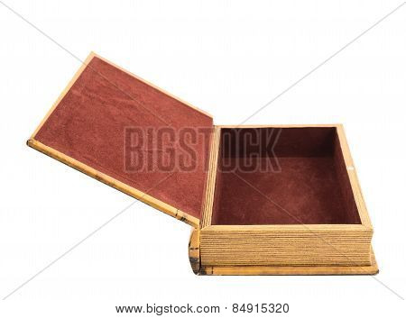 Book shaped casket or jewelry box isolated