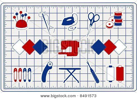 Quilting Icons on Cutting Mat