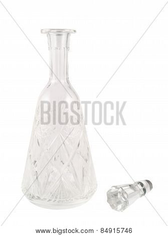 Crystal glass decanter vessel isolated