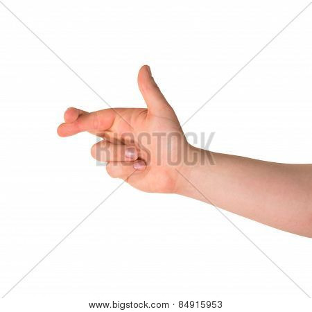 Cross your fingers hand gesture isolated