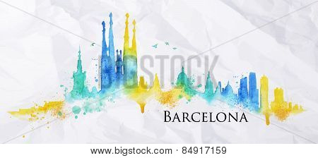 Silhouette watercolor Barcelona